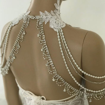 Bridal Dress Shoulder Necklace, Rhinestone Lace Shoulder Necklace, Wedding Shoulder Jewelry, Bridal White Lace Shoulder Bridal Straps Bolero