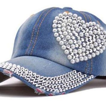 New Snapbacks Hats Sport Heart Shaped Diamond Pearl New Cowboy Bone Torn Jeans Duck Tongue Baseball Cap Casquette Cayler Sons