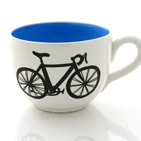 Bike Mug large for Soup or Coffee Lovers, choice of blue or green