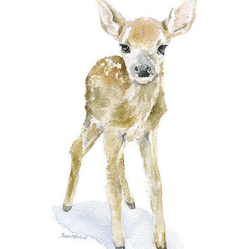 Deer Fawn Watercolor Painting Giclee Reproduction 11x14 - Nursery Art Woodland Animal - Baby Animal
