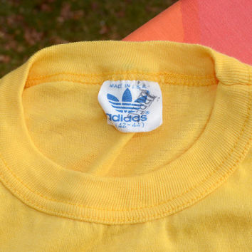 80s vintage t-shirt ADIDAS plain blank yellow gold sports trefoil ringer tee Medium Large 70s
