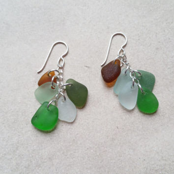 Genuine Sea Glass Earrings on Sterling Silver, Beach Jewelry, Seafoam Green and White Glass Charms, Sea Glass Jewelry, Sea Earrings