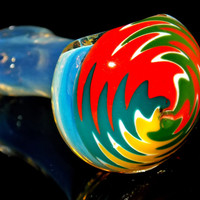Bright Rasta Rainbow Reversal Mini Spoon Pipe Silver Fumed Glass Smoking Bowl - Bold Colorful Designs and Thick Color Changing Glass