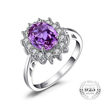 Oval Alexandrite Sapphire Silver Ring-Princess Diana Engagement Ring