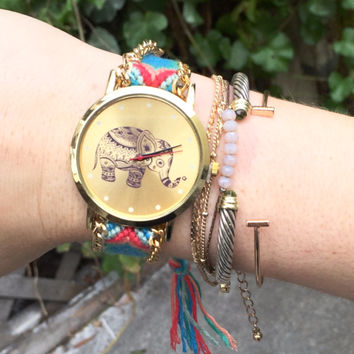 Elephant Friendship Bracelet Watch - Pink & Blue