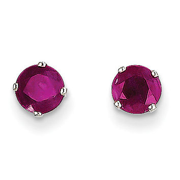 14k White Gold 5mm Ruby Stud Earrings XBE138