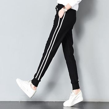 Long Leisure Pants Women Bottoms Summer Spring Female Clothes Double Striped Jogger Haren Pants Sweatpants Sportswear Trousers