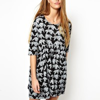 ASOS Smock Dress With 3/4 Sleeves In Bear Print