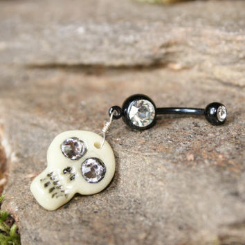Navel ring glow in the dark skull with swarovski by PluggingAlong