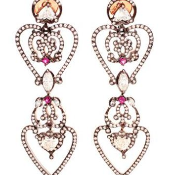 SABINE G | 'Heart' 18K Rose Gold Diamond Pave Earrings | brownsfashion.com | The Finest Edit of Luxury Fashion | Clothes, Shoes, Bags and Accessories for Men & Women