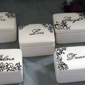 Ceramic Keepsake Box Set by GrapeVineCeramicsGft on Etsy