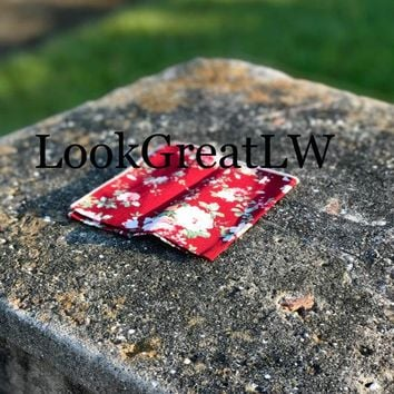 Men's Red Floral Pocket SquareWedding Handkerchief,Groomsmen ,Father Gift,Boyfriend,Gift,Party,Vintage,White,Wedding Accessories,Graduation