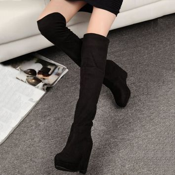 New Women Wedge Casual Korean Long Boots Knee-high Round Knight Platform Hidden Increasing Shoes Autumn Plush High Heel Boots