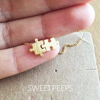 Gold Plated Tiny Puzzle Piece Necklace, Tiny Charm Necklace, Tiny Charms