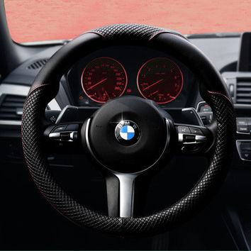 2016 Trending Fashion Hot Popular Classy Durable Leather Fiber Car Steering Wheel Cover _ 3558