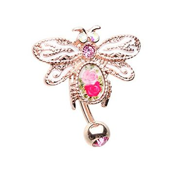 Rose Gold Vintage Soaring Dragonfly Drop Top Down Reversible Belly Button Ring