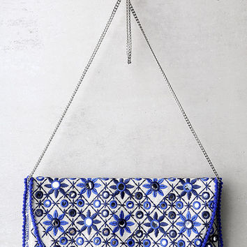 Laguna Beige and Blue Embroidered Clutch