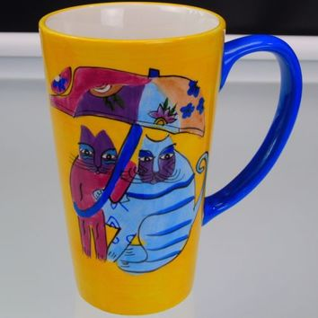 Laurel Burch Tall Mug Umbrella Cats Vintage 1997 Ceramic 16 ounces