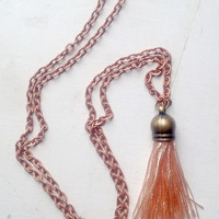Silk Light Pink Tassel Necklace with 24 inch Copper Chain, Gift Box Included