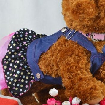 Hot Selling Sweet Heart Sequins Dog Denim  Dress
