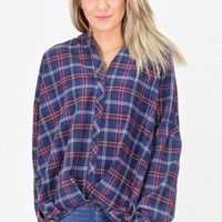 Twisted Hem Plaid Flannel Top {Navy Mix}