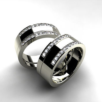 sets band half diamond bands rings hers white unique wedding matching couple set gold carat his eternity