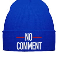 no comments embroidery - Beanie Cuffed Knit Cap
