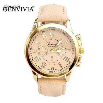 GENVIVIA Women's Watches Quartz relogio feminino Leather Band Analog Roman Numerals Faux Watch Dress watch Beige