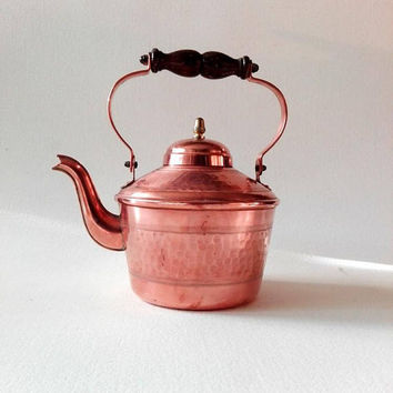 French vintage kettle, hammered copper, kettle, copper vintage, cottage decor, copper decor, copper kitchen, teapot, french kitchen, rustic