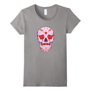 Pink Sugar Skull With Hearts T-Shirt