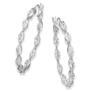 Rhodium Plated In/out Cubic Zirconia Silver Hoops