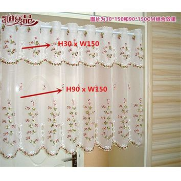 Half Curtain Embroidered Valance Lace Crochet gauze Flower Countryside Style Tulle for Cupboard Kitchen Cabinet Door Wallet