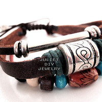 Infinity bead handmade leather bracelet from Urban Zen Jewelry Boutique