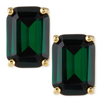 kate spade new york emerald-cut crystal earrings, green