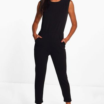 Erin Zip Shoulder Tailored Jumpsuit | Boohoo