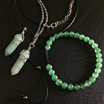 Crystal Necklace Bracelet Bundle- Adjustable Green Aventurine Luck Bracelet Hematite Grounding Beads Pendant Boho Hippie Jewelry Bohemian