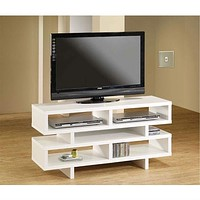 Modern Style Living Room TV Stand in White Wood Finish