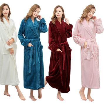 Hot Selling Women Super Soft Winter Warm Long Bath Robe