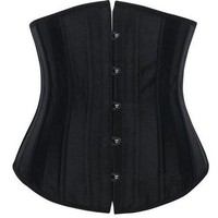 Camellias 24 Steel Boned Satin Underbust Waist Training Corset Bustier Top