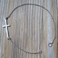 925 Sterling Silver Cross Bracelet 925 Sterling Silver Cross 22x19mm 925 Sterling Silver Chain,spring & Split Rings 18cm Long Handmade,brand New