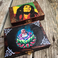 Handcrafted Plug Jewelry Box-Buddha Box/Bob Marley Box/Stash Box/Jewelry Organizer/wood jewelry box/trinket box/Plug Gauge Organizer/Storage