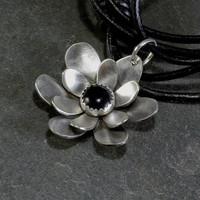 Sterling silver flower necklace with black onyx stone handmade and crafted as a botanical statement