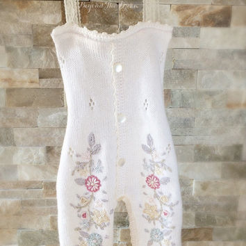 Upcycled Romper, Embroided Romper, Girls Photo Prop, Lace Straps, Button Front, Upcycled Whimsical Vintage Feel Overall Prop, 12M