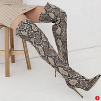 Serpentine Pointed Toe Stiletto High Heel Over the Knee Long Boots