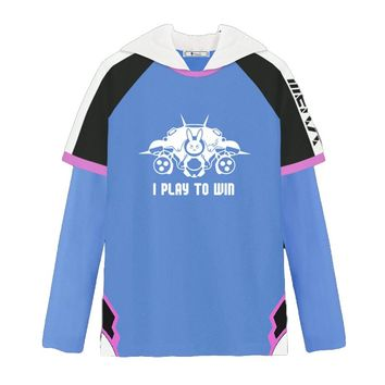 Overwatch Dva I Play To Win MEKA Layered Long Sleeve Hoodie