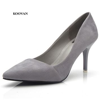 Koovan Women Fashion Sexy High Heels Pointed Pumps 2017 Ladies Single Shoes Flock Woman Shoe Night Club 8cm And 5cm Female Shoes