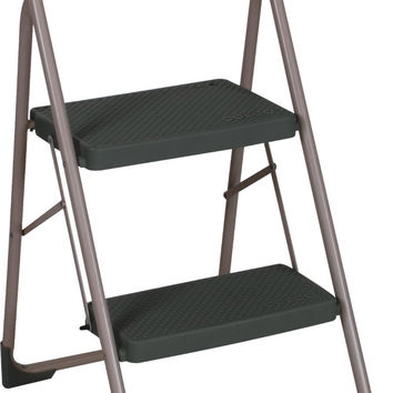 Cosco Two-Step Big Step Steel Folding Step Stool, Grey