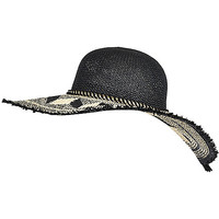 River Island Womens Black straw oversized floppy sun hat