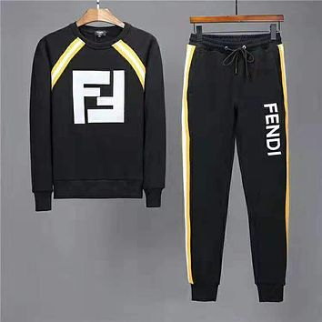 FENDI 2018 winter new high quality men's fashion casual two-piece suit black