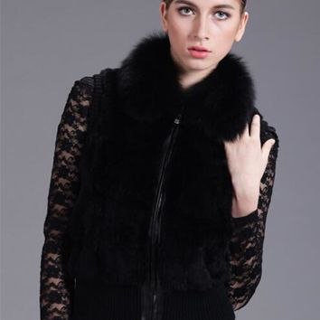 2015 NEWEST spring genuine rabbit fur vest with genuine fox fur collar 7 colors XXXL fur female short design waistcoat